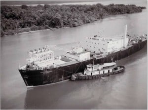 1968 photo of the Sturgis, the first nuclear power barge, in the Panama Canal. It provided electricity to operate the locks from 1968-1975