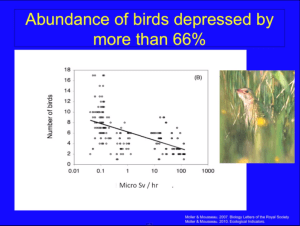 no. of birds vs. radiation field from Mousseau