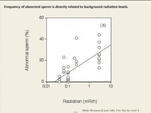 sperm abnormality vs. radiation field from Mousseau