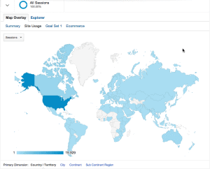 Global map of visitors to Atomic Insights in April 2014