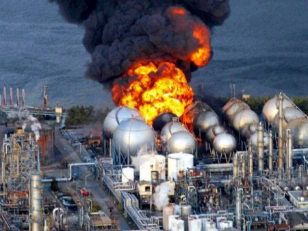 Chiba LPG Tanks after Great North East Japan earthquake