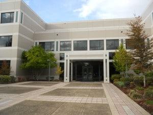 Front door of building housing NuScale's Corvallis design office