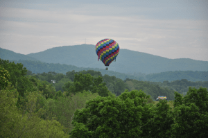 Balloonist in backyard