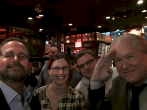 John C. Dvorak with No Agenda producers in Sparks Steak House NYC Apr 5, 2016