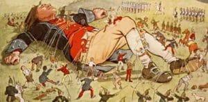 Gulliver frees a leg