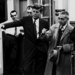 Figure 6. Senators John Kennedy and Al Gore Sr flank Alvin Weinberg on a visit to ORNL
