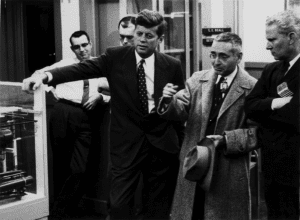 Figure 6. Senators John Kennedy and Al Gore Sr flank Alvin Weinberg on a visit to ORNL