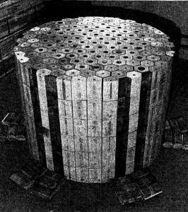 Figure 4. Uranium-235 fluoride fuel dissolved in molten sodium and zirconium fluoride salts flowed through these beryllium moderators.