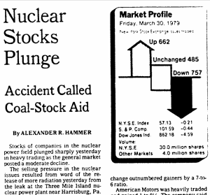 Nuclear Stocks Plunge: Accident Called Coal-Stock Aid