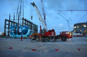 Moving the Sanmen 1 pressure vessel