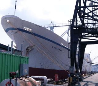 NS Savannah in Baltimore Harbor For 50th Anniversary Refurbishing