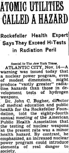 Warning against nuclear power by Rockefeller Foundation