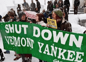 Activists rally outside the Statehouse following a vote by the Vermont Senate to retire the Vermont Yankee nuclear plant in 2012. Since the plant's closing, energy derived from natural gas has increased more than 5 percent.
